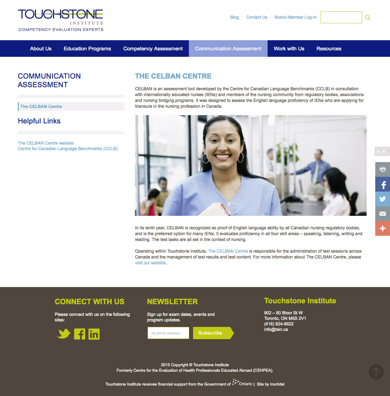 Touchstone Institute sub page design