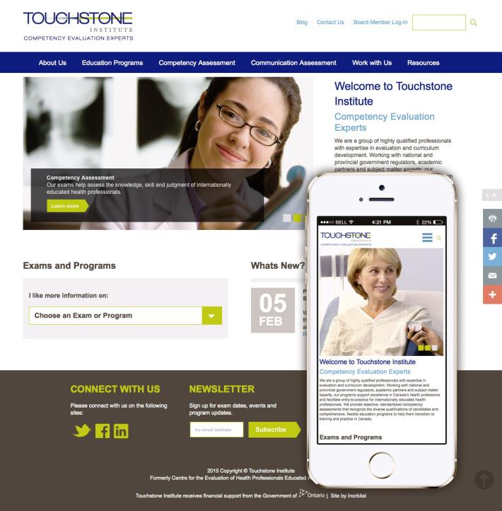 Touchstone Institute home page design