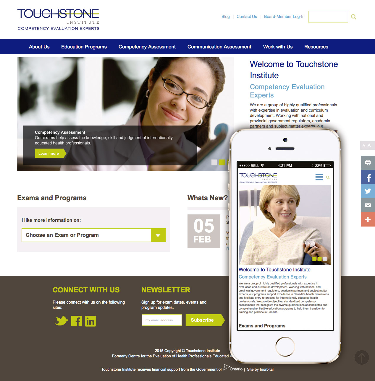 Touchstone Institute home page design